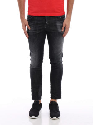 Dsquared2: straight leg jeans online - Skater faded denim jeans