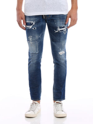 Dsquared2: straight leg jeans online - Skater patched rips jeans
