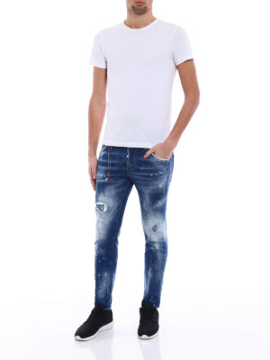 Dsquared2: straight leg jeans online - Skater pink and white spots jeans
