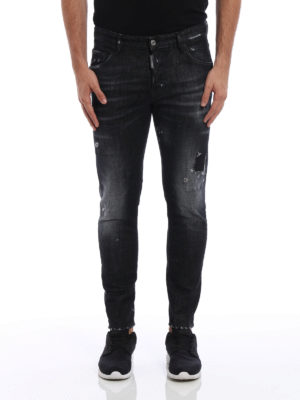 Dsquared2: straight leg jeans online - Skater scraped jeans