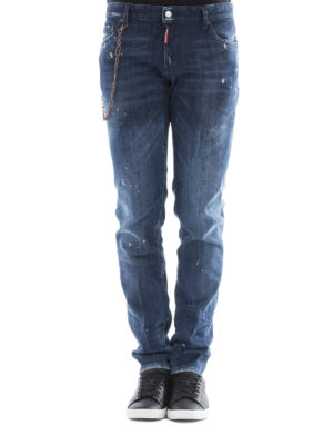 Dsquared2: straight leg jeans online - Slim chain detailed jeans
