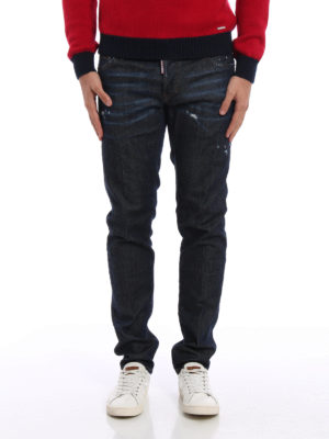 Dsquared2: straight leg jeans online - Slim faded denim jeans