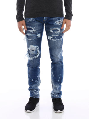 Dsquared2: straight leg jeans online - Slim patched rips jeans