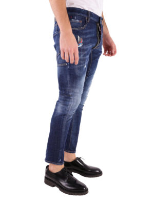 Dsquared2: straight leg jeans online - Tidy Biker embroidered jeans