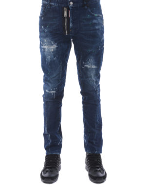 Dsquared2: straight leg jeans online - Tidy Biker faded jeans