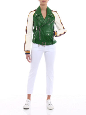 Dsquared2: straight leg jeans online - Twiggy white denim cropped jeans