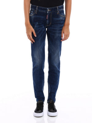 Dsquared2: straight leg jeans online - Twiggy zipped bottom jeans