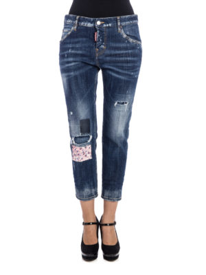Dsquared2: straight leg jeans online - Worn out crop jeans