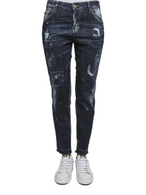 Dsquared2: straight leg jeans online - Worn out denim jeans