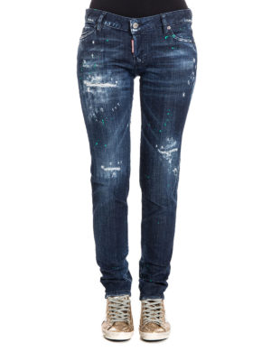 Dsquared2: straight leg jeans online - Worn out five pocket jeans