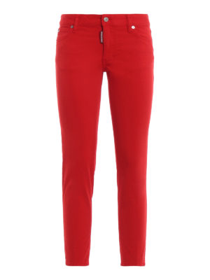 DSQUARED2: straight leg jeans - Red medium waist cropped twiggy jeans