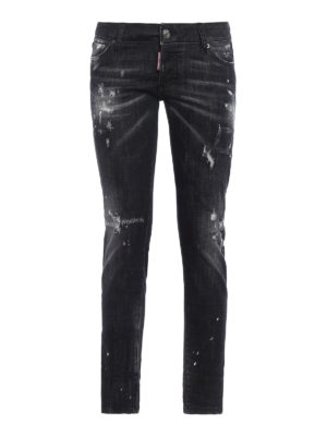 Dsquared2: straight leg jeans - Ripped and spotted jeans