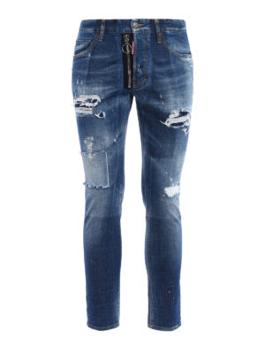 Dsquared2: straight leg jeans - Skater patched rips jeans