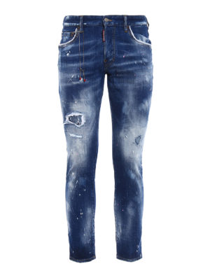 Dsquared2: straight leg jeans - Skater pink and white spots jeans