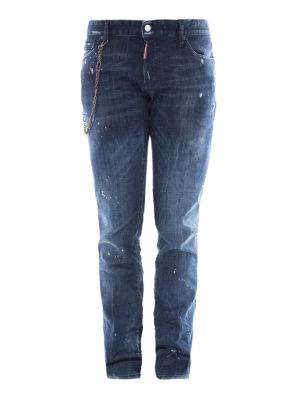 Dsquared2: straight leg jeans - Slim chain detailed jeans