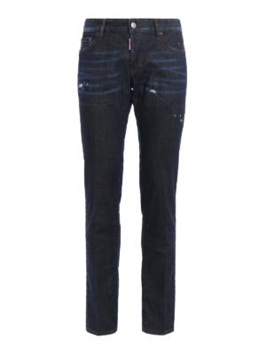 Dsquared2: straight leg jeans - Slim faded denim jeans