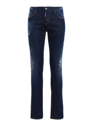 Dsquared2: straight leg jeans - Slim jeans with varnish spots