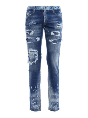 Dsquared2: straight leg jeans - Slim patched rips jeans