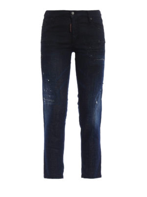 Dsquared2: straight leg jeans - Spotted faded jeans