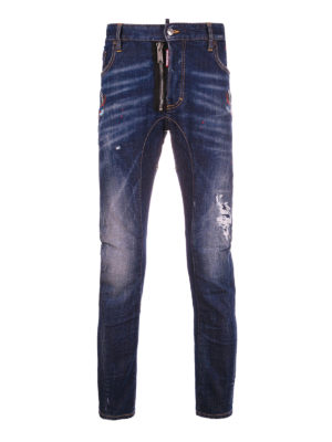 Dsquared2: straight leg jeans - Tidy Biker embroidered jeans