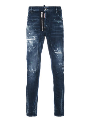 Dsquared2: straight leg jeans - Tidy Biker faded jeans