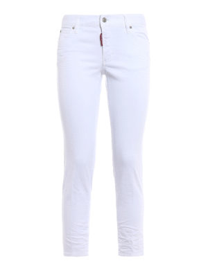 Dsquared2: straight leg jeans - Twiggy white denim cropped jeans