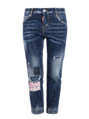 Dsquared2: straight leg jeans - Worn out crop jeans