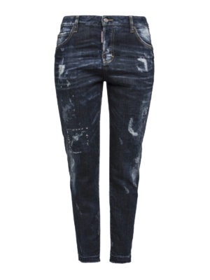 Dsquared2: straight leg jeans - Worn out denim jeans