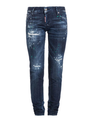 Dsquared2: straight leg jeans - Worn out five pocket jeans