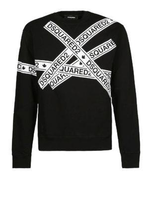 DSQUARED2: Felpe e maglie - Felpa nera con stampa nastro adesivo