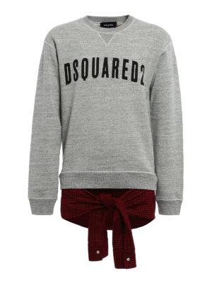 Dsquared2: Sweatshirts & Sweaters - Check wool detail cotton sweatshirt