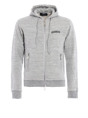 Dsquared2: Sweatshirts & Sweaters - Cotton melange zipped hoodie