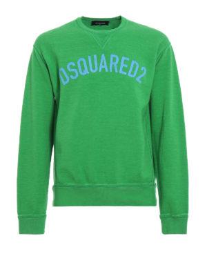 DSQUARED2: Felpe e maglie - Felpa verde con logo lettering craquelé