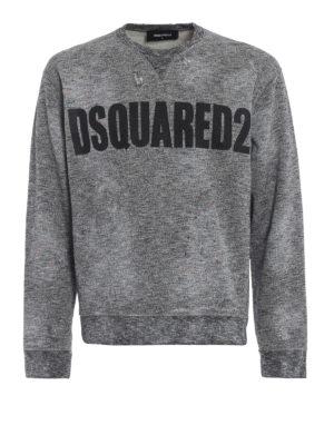 DSQUARED2: Felpe e maglie - Felpa melange con stampa Dsquared2 e macchie