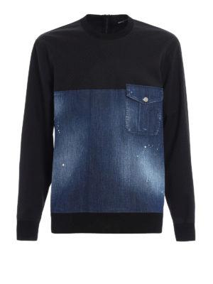 Dsquared2: Sweatshirts & Sweaters - Faded denim and wool sweatshirt
