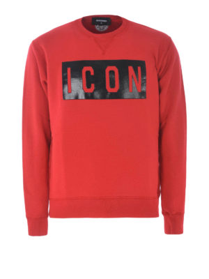 DSQUARED2: Sweatshirts & Sweaters - Icon rubberized print red sweatshirt