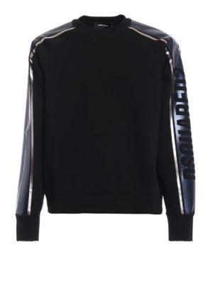 DSQUARED2: Felpe e maglie - Felpa con bande laminate e logo lettering