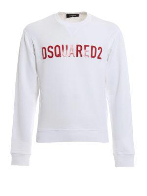 DSQUARED2: Felpe e maglie - Felpa cotone bianco con logo lettering
