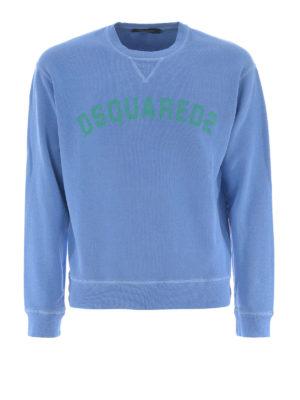 DSQUARED2: Felpe e maglie - Felpa in cotone azzurro con logo