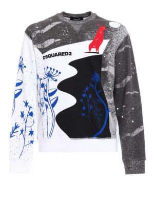 Dsquared2: Sweatshirts & Sweaters - Multicolour print cotton sweatshirt