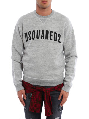 Dsquared2: Sweatshirts & Sweaters online - Check wool detail cotton sweatshirt