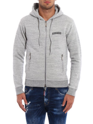 Dsquared2: Sweatshirts & Sweaters online - Cotton melange zipped hoodie