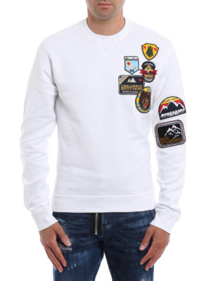 Dsquared2: Sweatshirts & Sweaters online - Cotton sweatshirt with patches
