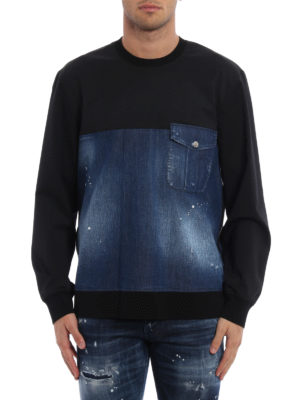 Dsquared2: Sweatshirts & Sweaters online - Faded denim and wool sweatshirt
