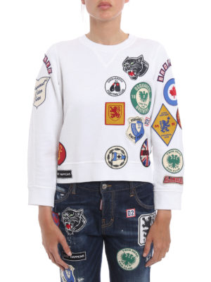 Dsquared2: Sweatshirts & Sweaters online - Patch cotton crop sweatshirt