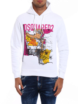 Dsquared2: Sweatshirts & Sweaters online - Printed cotton hoodie