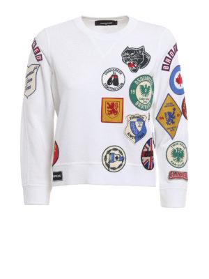 Dsquared2: Sweatshirts & Sweaters - Patch cotton crop sweatshirt
