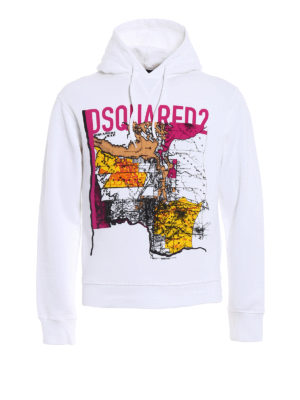 Dsquared2: Sweatshirts & Sweaters - Printed cotton hoodie