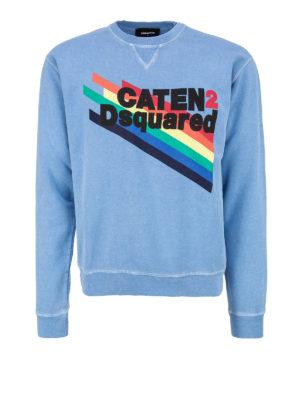 DSQUARED2: Felpe e maglie - Felpa azzurra logo arcobaleno