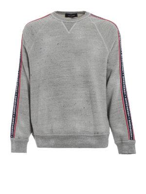 DSQUARED2: Felpe e maglie - Felpa melange con macchie e bande logo